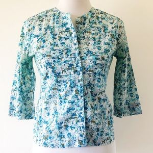 ANTHROPOLOGIE ELEVENSES BLUE FLORAL BLOUSE